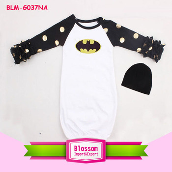 Latest evening gown designs gold dot sleeve clothes bat man gown pattern sleeping wear cartoon raglan unisex night pajamas gown