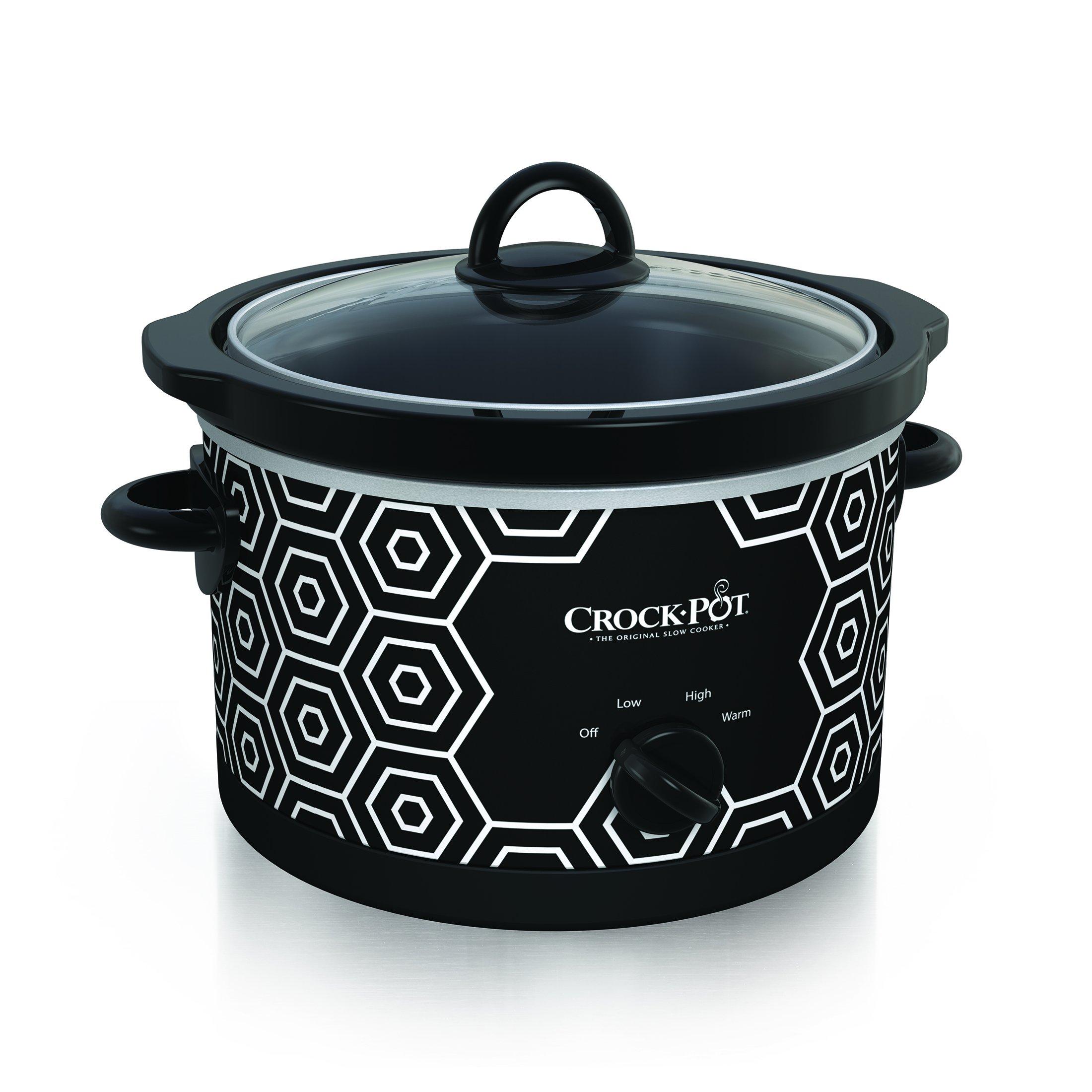 Crockpot Round Slow Cooker, 4.5 quart, Black & White Pattern (SCR450-HX)