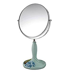 Halloween/Thanksgiving/Christmas/April Fools ' Day Gifts,Holiday gifts,Gifts Creative continental pastoral lovely tabletop makeup mirror, vanity mirror rose flower bed-double-sided mirror (yellow)