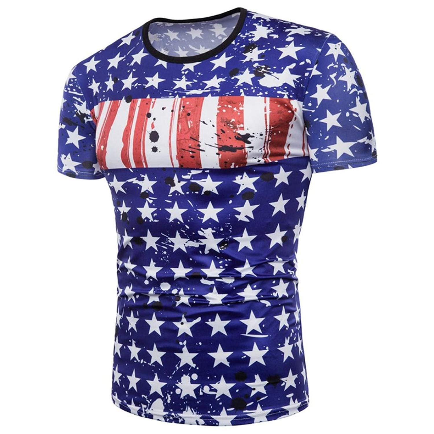 Challyhope Mens Tees, Patriotic Flag 3D Printed Graphic T Shirts Summer Casual Cool Tops Jersey
