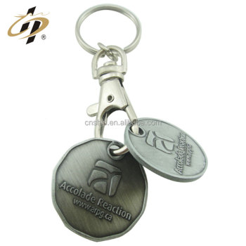 Wholesale custom car logo brand coin holder trolley shopping cart token