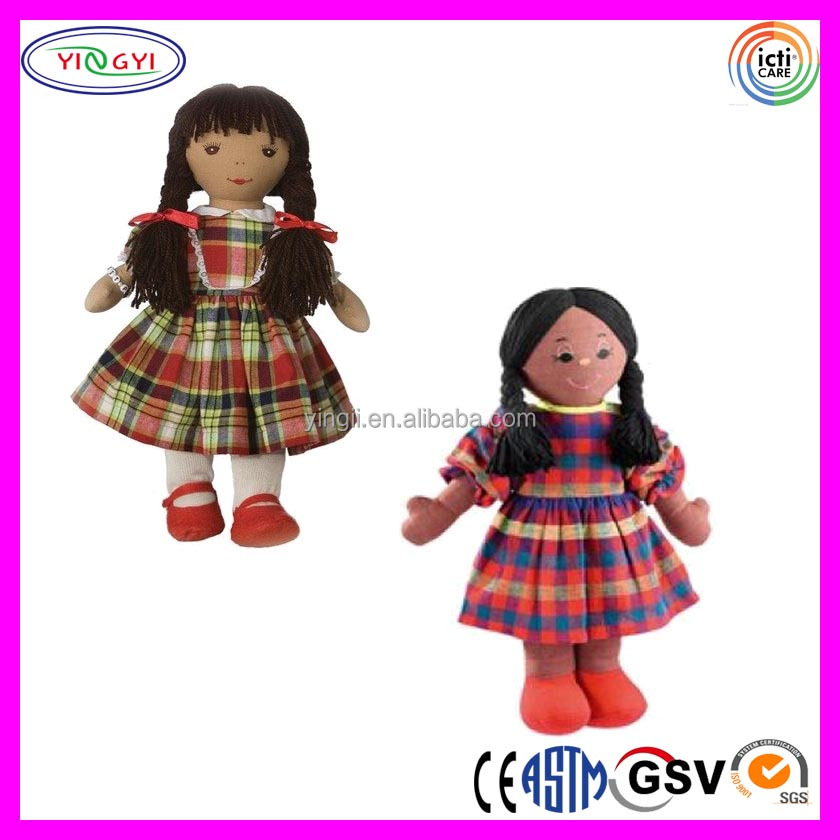 A636 Cheap Promotional Plush Stuffed Rag Doll Check Pattern Dresses China Real Doll
