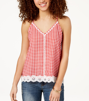 fashion design Women summer sleeveless Gingham Crochet Tank Top
