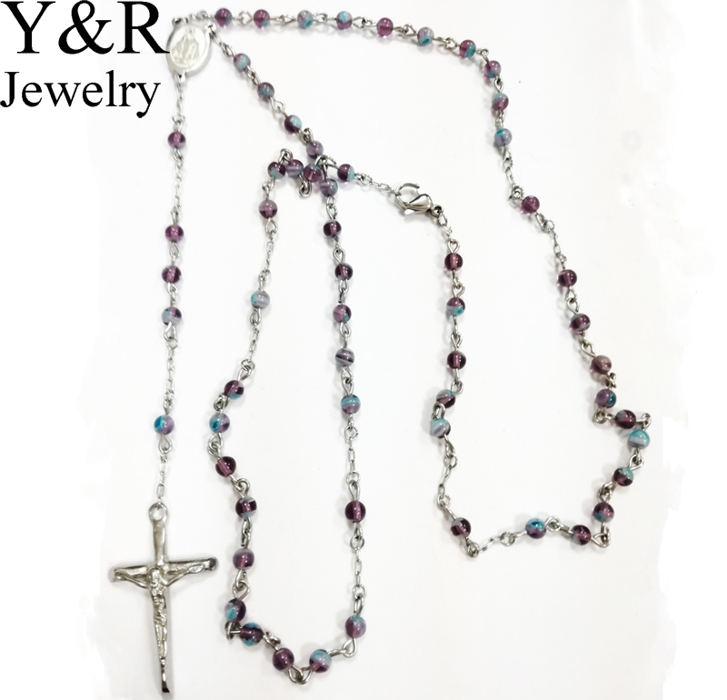 2017 christian gifts rosary necklace design stainless steel cross necklace