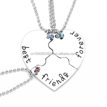 b4bc9948d9882 Hand Stamp Best Friends Forever Luck Beads 3 Piece Heart Puzzle Piece  Necklace Set Popular Friendship Jewelry - Buy Best Friends  Forever,Friendship ...