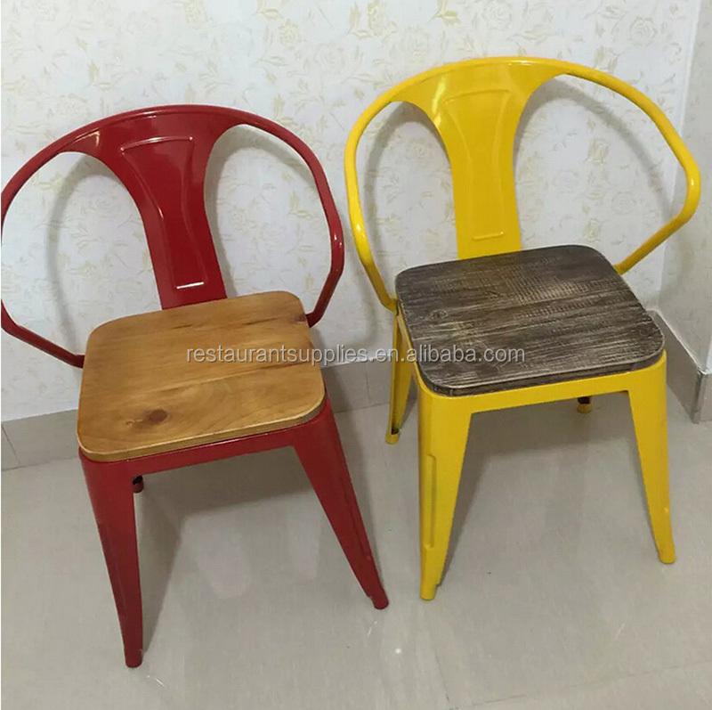 Hoge kwaliteit vintage smeedijzeren stoel houten seat ijzeren stoel voor restaurant metalen - Smeedijzeren stoel en houten ...