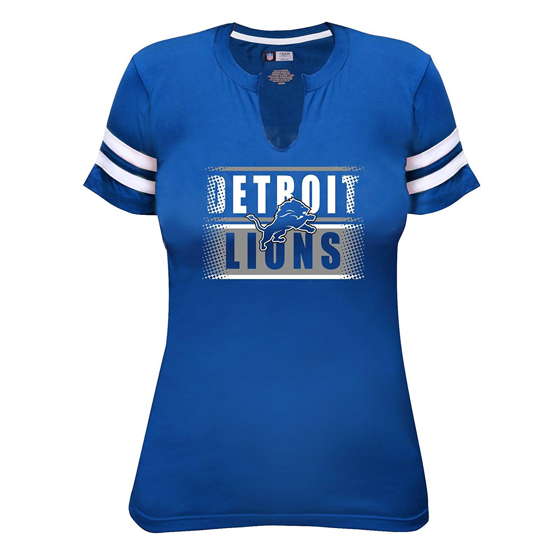 NFL Detroit Lions Short Sleeve Notch with Arm Stripes Tee, 2X, Lion Blue/White