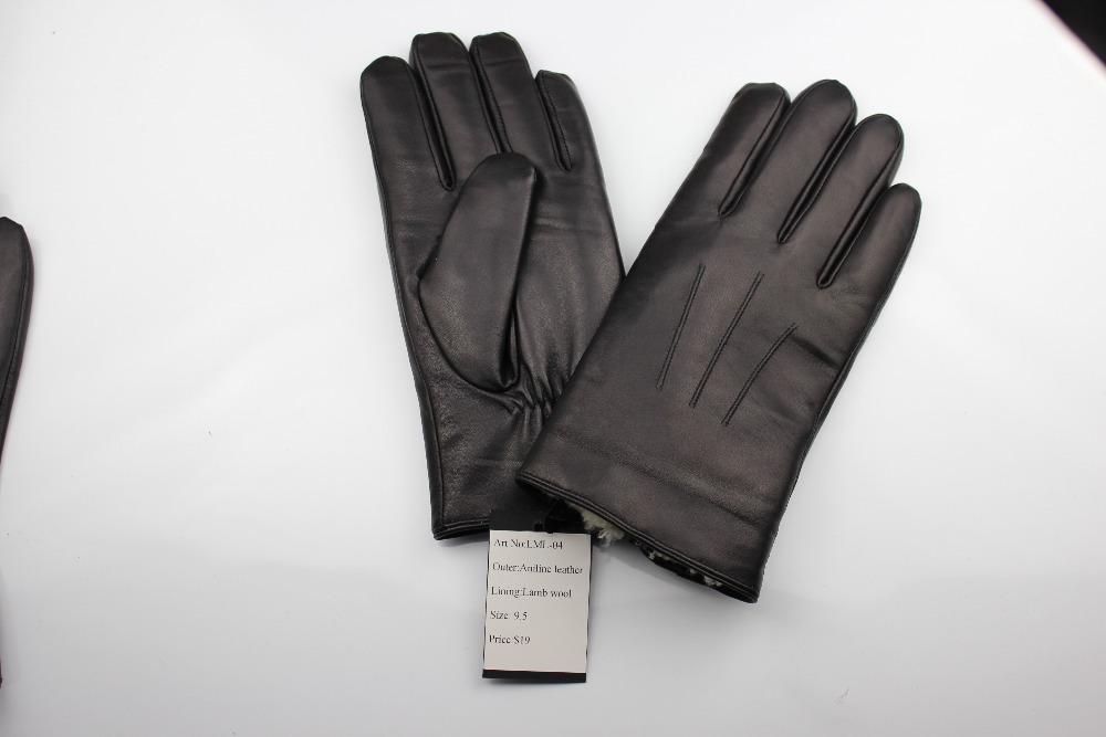 Aniline Leather gloves with lamb wool,fancy leather gloves series for men