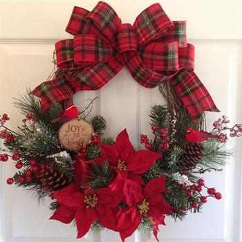 Christmas Wreath Artificial Plant Rattan Circle Wall Decoration Simulation  Flower Garland  Door Hanging Wreath For Home