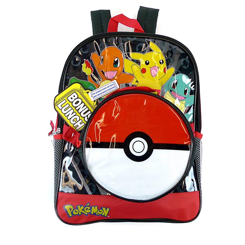 "KIDS Pokemon ""Pokeball"" School Backpack with Disattachable Pokeball Lunch bag"