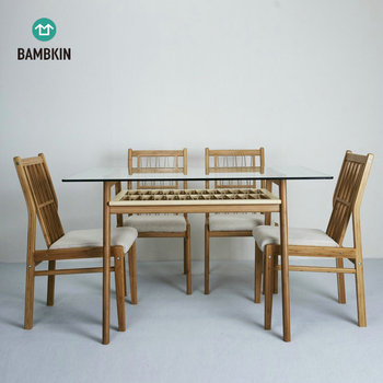 BAMBKIN glass dining room furniture home dining tables dining table and chair set