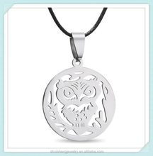 Simple design cheap wholesale high finish stainless steel vintage owl necklace