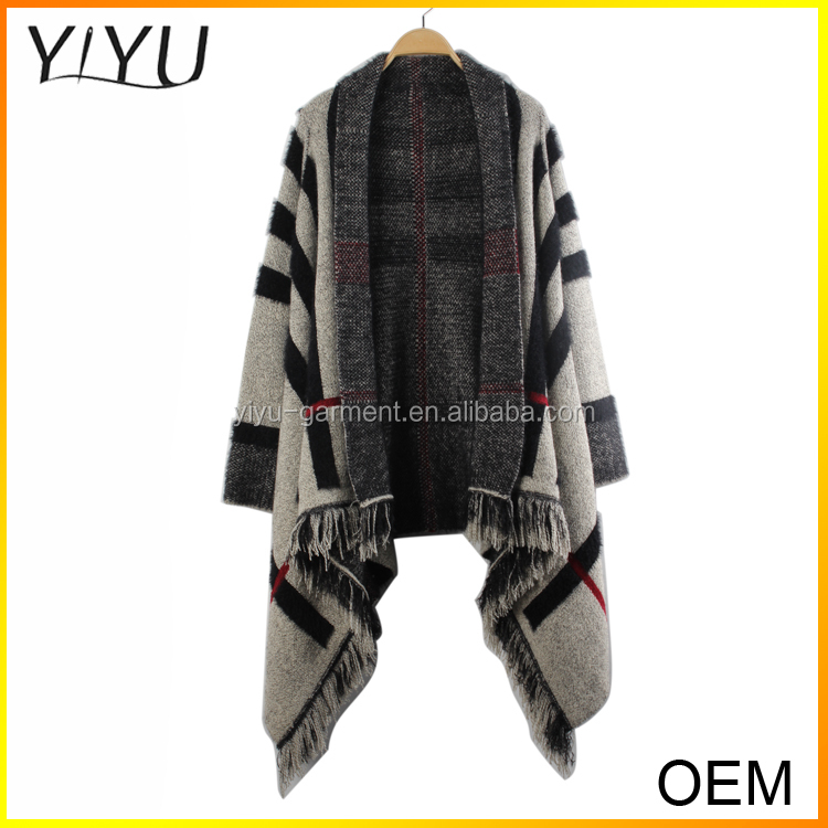 Custom 2016 Newest long sleeve red black stripe jacquard cardigan sweater with tassel