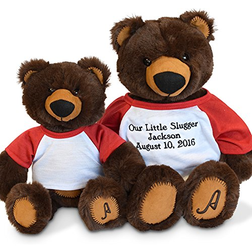 Mooie donkerbruin teddyberen met t-shirt custom logo happy bear lach beer