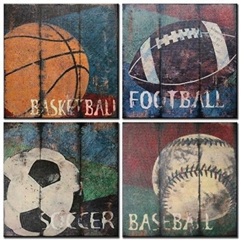 Basketballu0026Socceru0026 Footballu0026Baseball Canvas Painting Sports Canvas Wall Art  For Boys ...