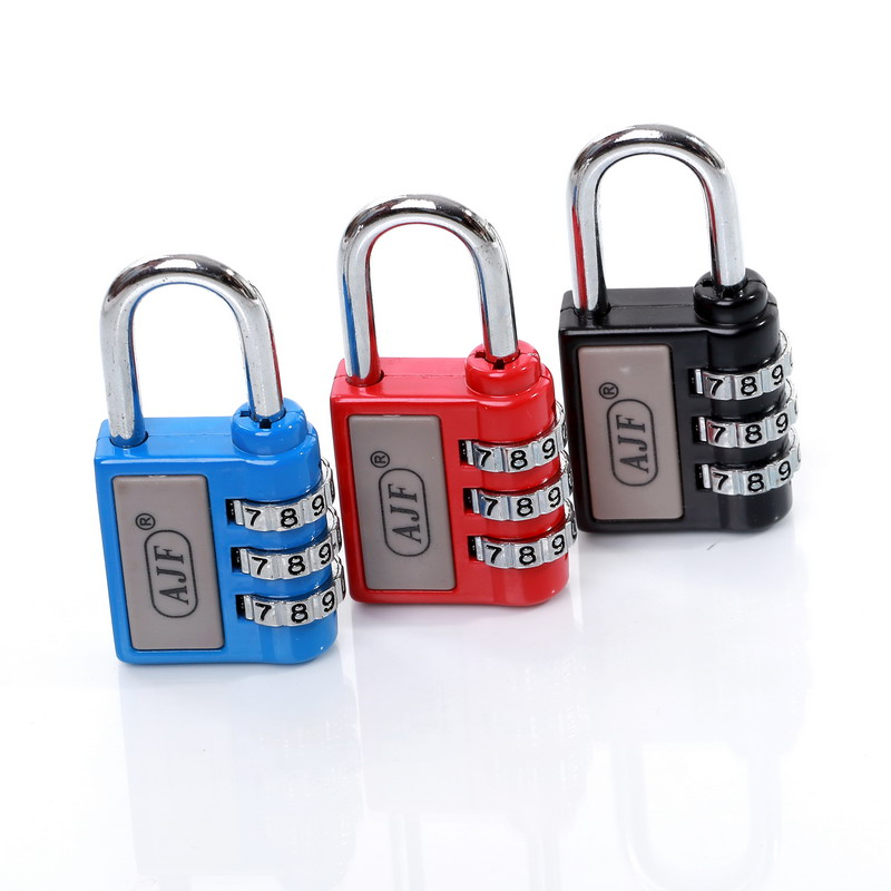Colorful AJF New arrival resettable 3 digits promotional suitcase combination coded lock