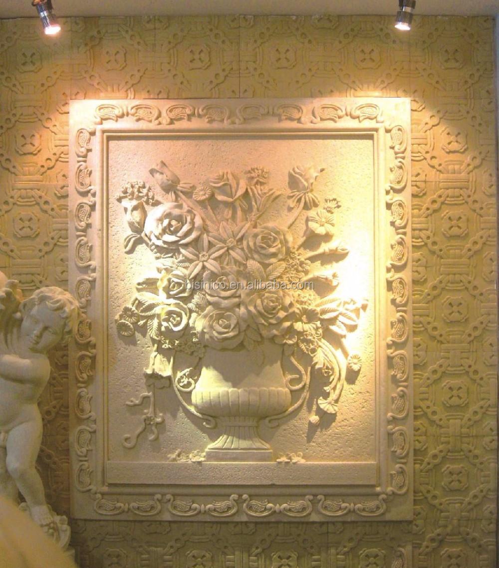 Vivid Floral Designed Sandstone Wall Plaque, Wall Hanging Standstone ...