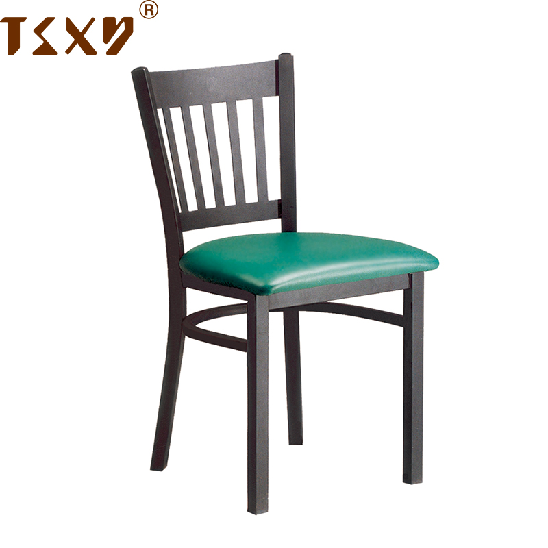 Cheap fireproof coffee vinyl seat metal dining restaurant chair