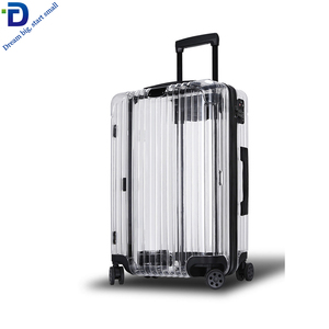 "LG0001 20"" 24"" hard shell suitcase full pc transparent luggage with pvc backpack"