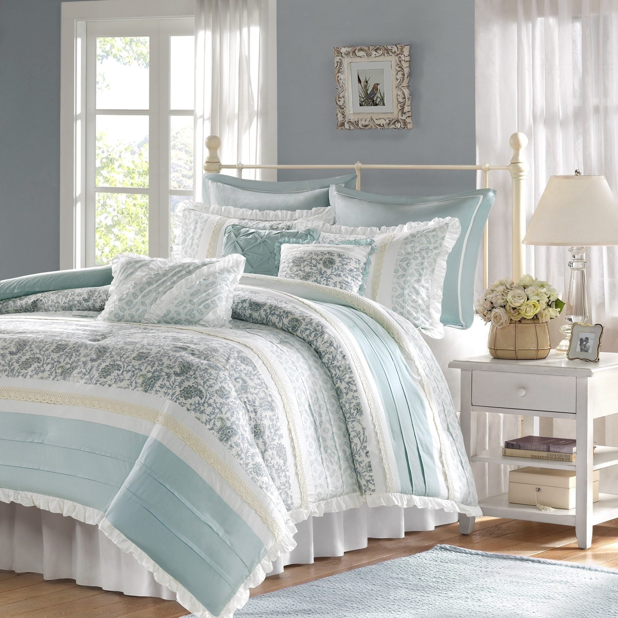 D&H 9 Piece Periwinkle Blue Green Paisley Comforter Queen Set, Blue White Shabby Chic Adult Bedding Master Bedroom Stylish Pintuck Ruffled Pattern Ruched Elegant Traditional Cotton Polyester