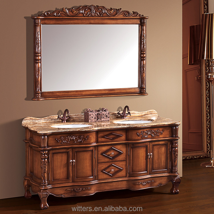 Classical hotel bathroom vanity cabinets solid wood furniture for sale WTS260