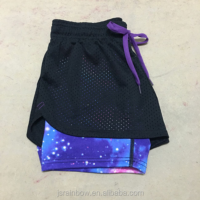 Fashion mesh lacing fast dry breathable running yoga fitness women casual shorts