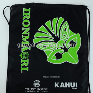 Customized Logo Recycle Drawstring Backpack With Front Zipper Pocket