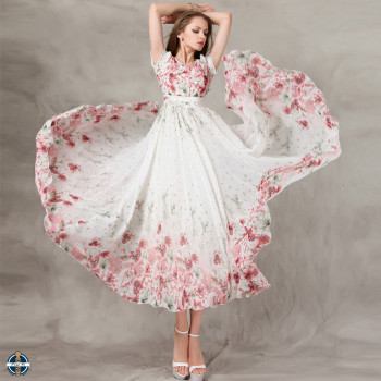 8b08329b280a T-D569 China Printed Chiffon Long Flowing Women Summer Fit and Flare Dress