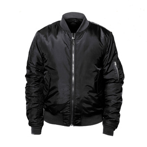 Black nylon bomber jacket men