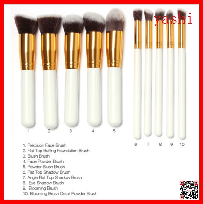 YASHI Hot sale 10pcs kabuki makeup brushes set synthetic hair cosmetic