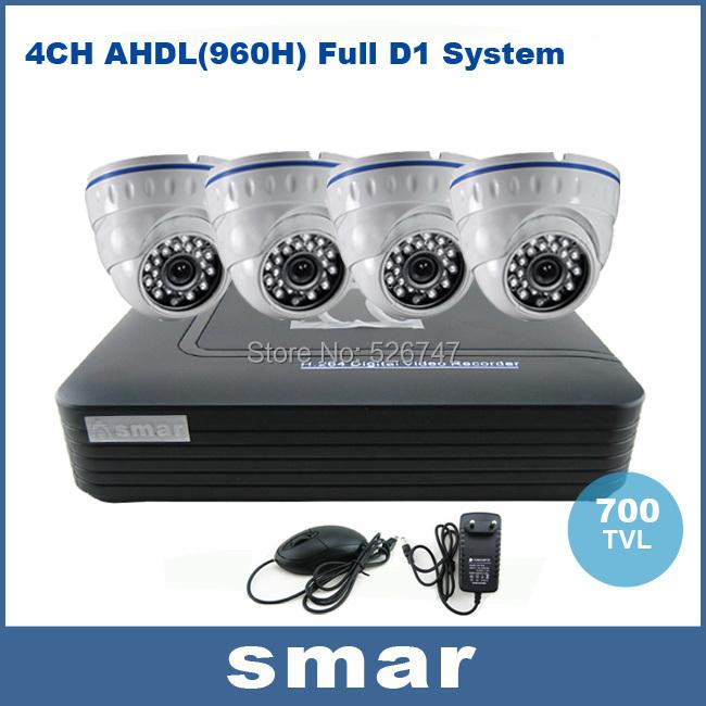 Home Security CCTV Camera System Standalone Kit 4 Channel CCTV HVR DVR NVR AHD DVR 4pcs 700TVL Infrared Indoor Dome Camera