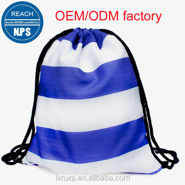 Customized New recycle nylon drawstring backpack with zipper front pocket