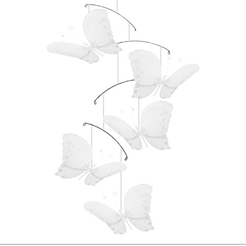 Butterfly Mobile White Twinkle Nylon Mesh Butterflies Mobiles Decorations Decorate Baby Nursery Bedroom Girls Room Ceiling Decor Birthday Party Baby Shower Baby Crib Hanging Mobile Kids Childs 3D Art