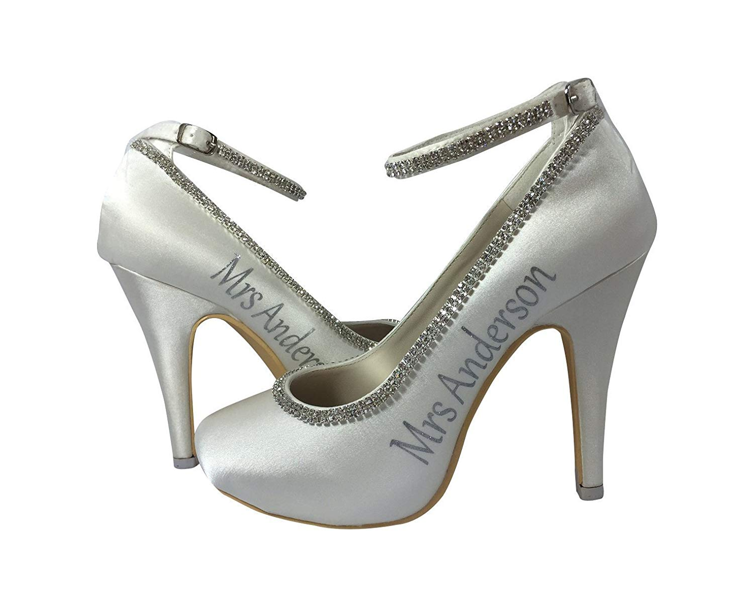 edea4111eed8 Get Quotations · Silver Ivory Strap Rhinestone Diamonte Customized 4 inch Bridal  Heels Wedding Mrs Last Name