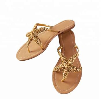 bfb13531f80af Women Fancy Sliver Starfish Beaded Sealife Wedding Flat Sandals ...