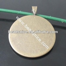 Brass Pendant Flat fits iner Pad:15mm round Hole:4x6mm Nickel-Free Lead-Safe pendant for black women