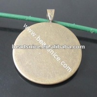 Brass Pendant Flat round fits iner Pad:15mm round Hole:4x6mm Nickel-Free Lead-Safe pendant for black women