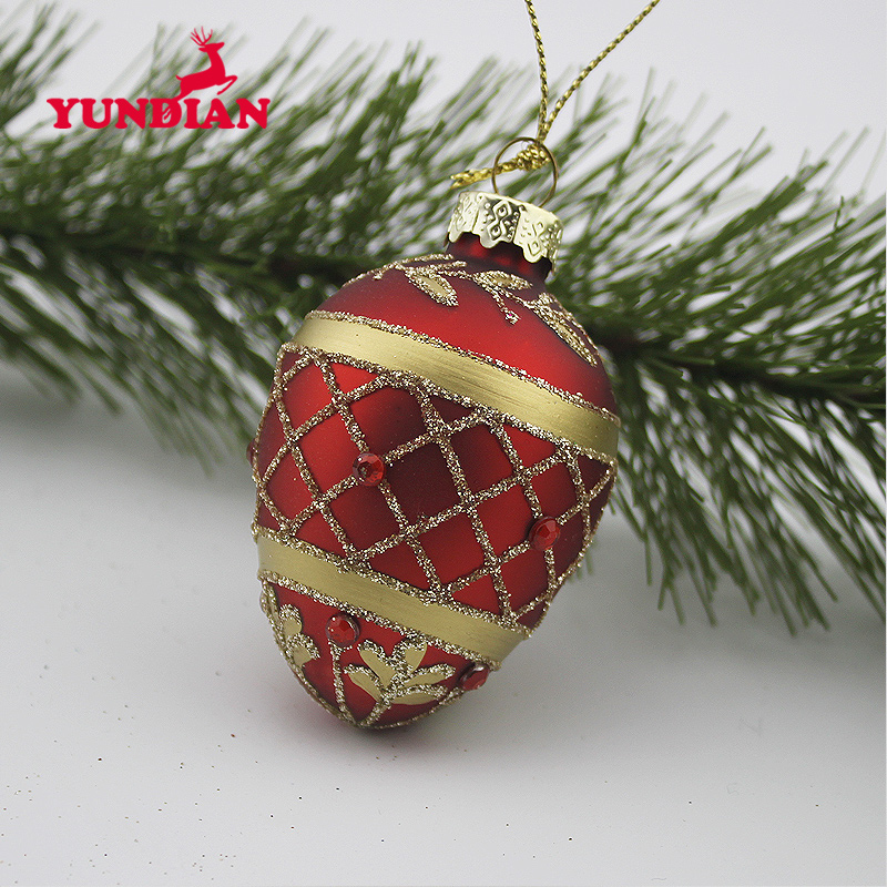 Hand blown hanging color easter glass eggs tree ornaments decoration
