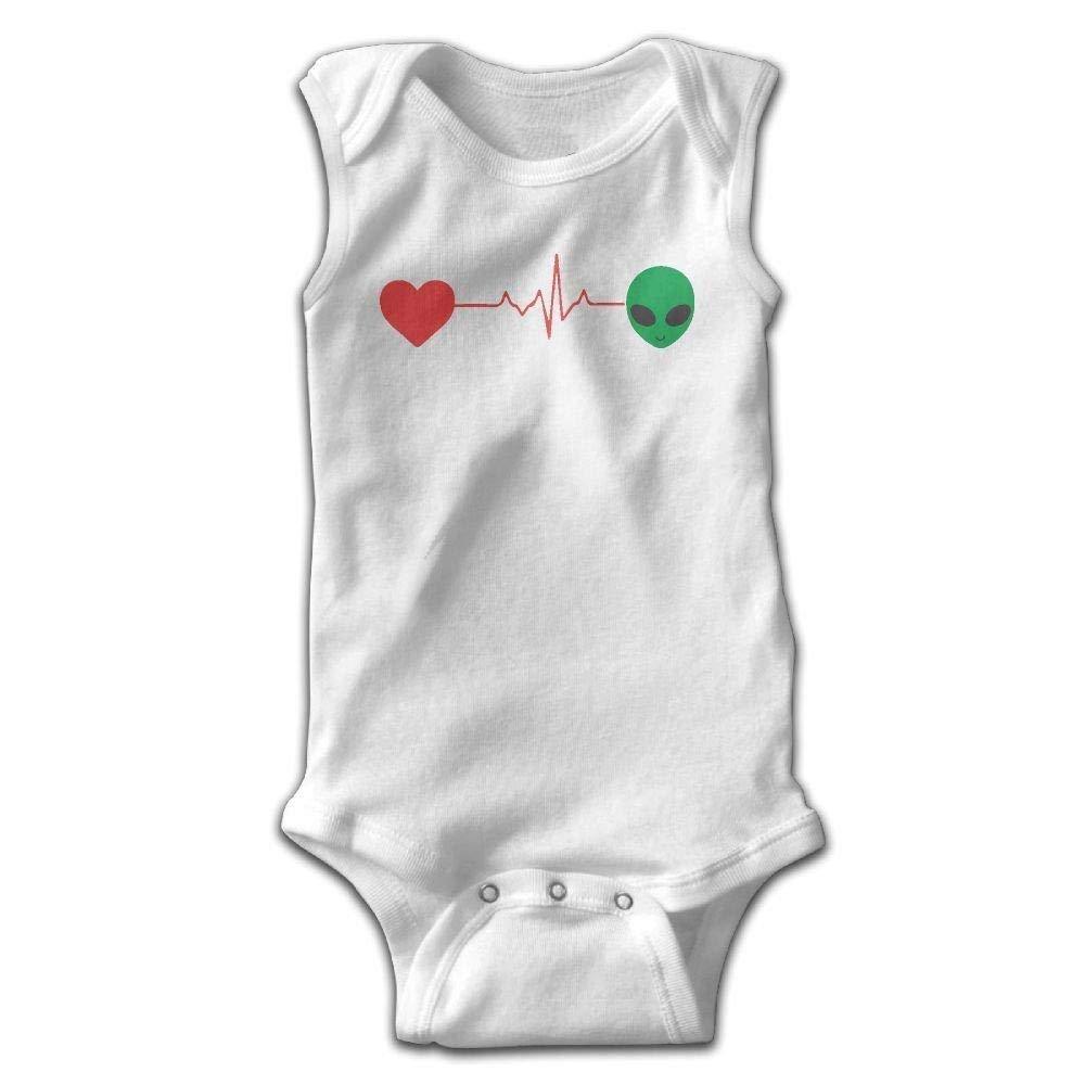 8e824abcb Get Quotations · I Love Alien Heartbeat Baby Newborn Infant Creeper  Sleeveless Onesie Romper Jumpsuit White