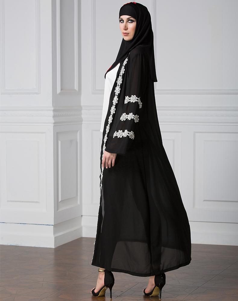 Dubai Lace Cuff Cardigan Stitching Chiffon Gown Abaya Robe Muslim ...