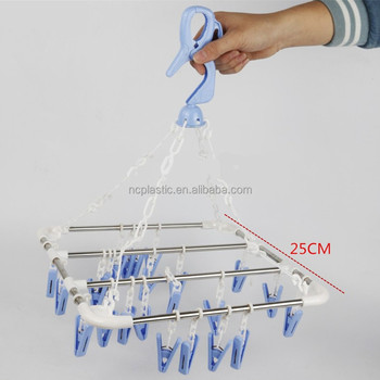 Laundry Clothesline Hanging Rack With 24 Clips For Travel Home Drip