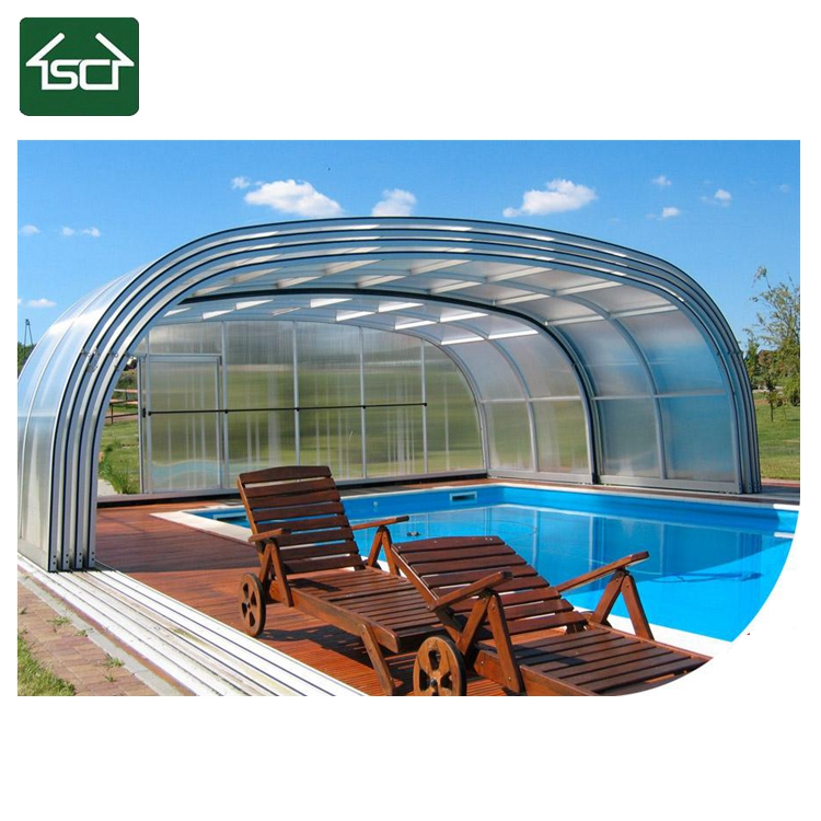 Pool Type swimming pool enclosures with retractable uncovered private swimming pool