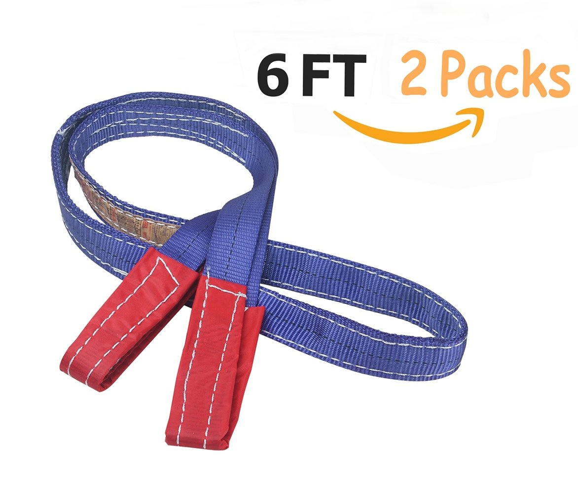 Heavy Lifting Straps Lift Sling Moving Straps with Grip (6 Feet - 2 Packs) Forklift and Truck for Moving Furniture Beds Sofa Appliances Heavy Objects, 2200 lbs Load Limit (6 FT(2packs))