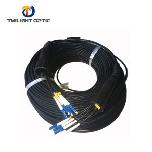 100M Field Outdoor Cable LC-LC UPC 4 Strand 9/125 Single Mode Fiber Patch Cord