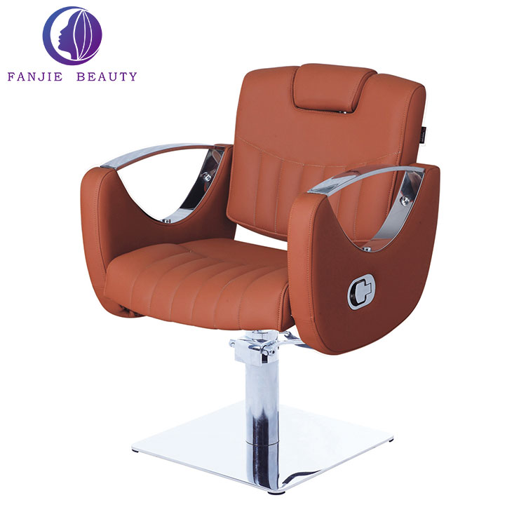 China factory orange portable hair salon chairs reclining make up chair rotary reclining barber chair