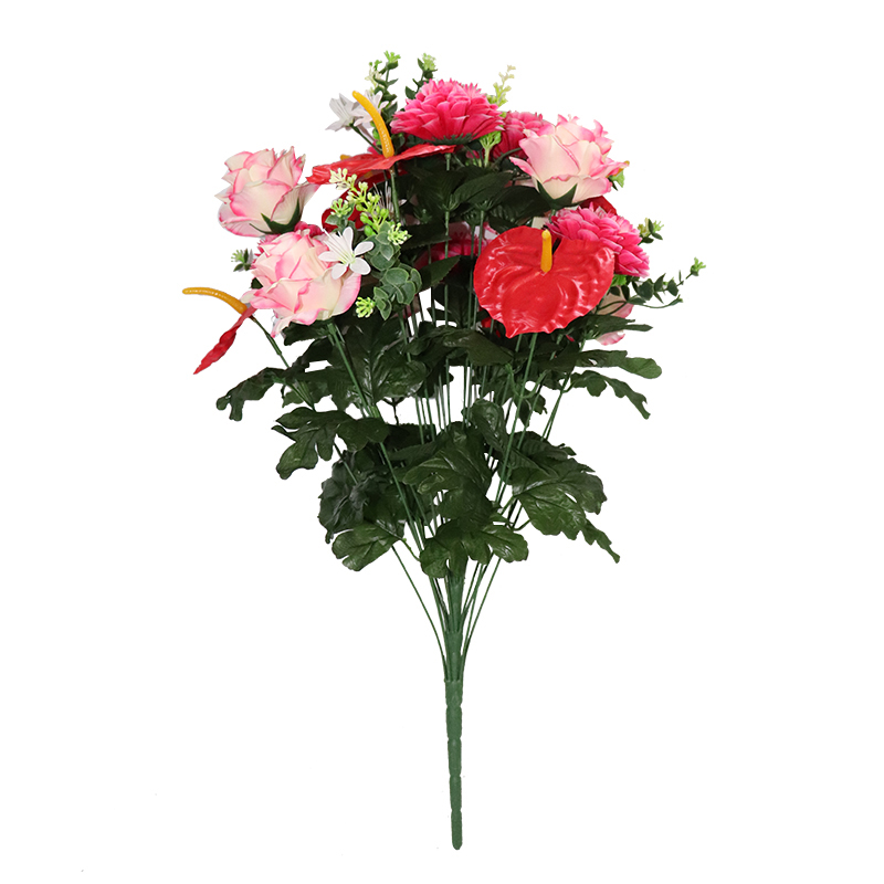 Wholesale cheap 24 heads silk artificial rose, peony, anthurium flower