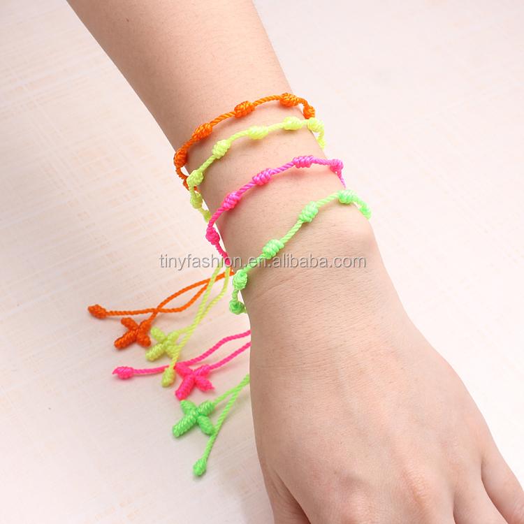 53e78308549e Mezclar colores religiosa barato cuerda anudada hilo Rosario pulsera para  las mujeres y los hombres