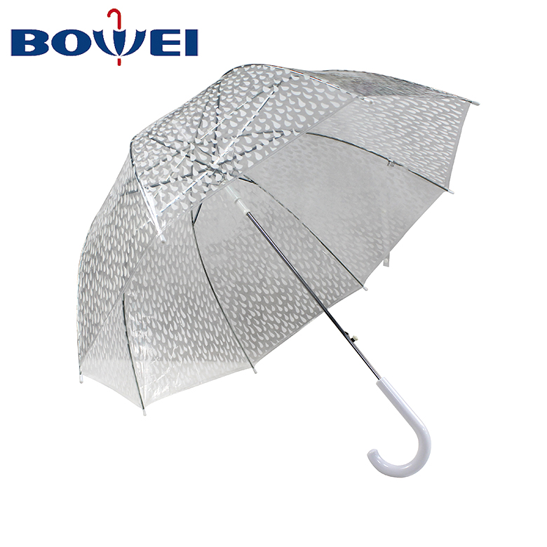 Chinese Wholesale Straight Transparent Custom Printed Rain Umbrella with Pure Color