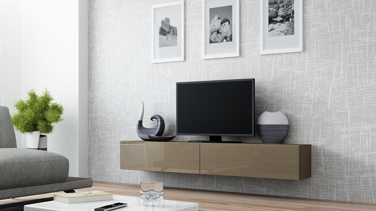 Concept Muebles 80 Inch Seattle High Gloss TV Stand - Latte Latte