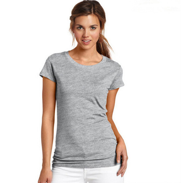 Fitted Women Blank Cotton T Shirt Short Sleeve Solid Color Plain ...